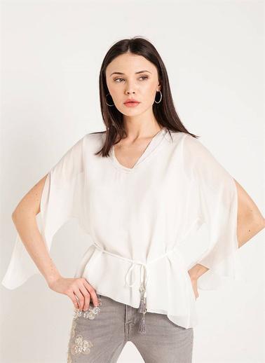 Fracomina V Yaka Belden Bağlamalı Bluz Beyaz